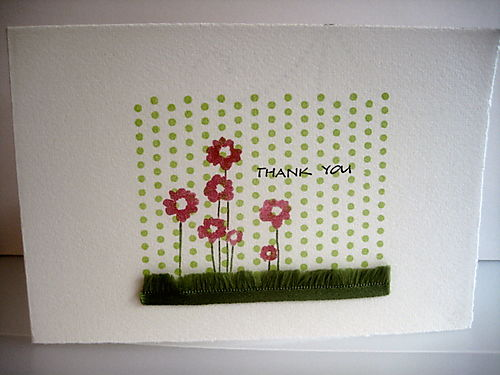 Grass ribbon on white card